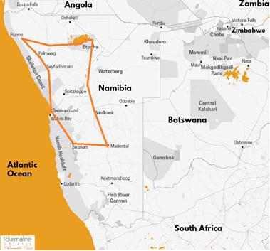 carte circuit du Pays Himba au Désert du Namib en camping