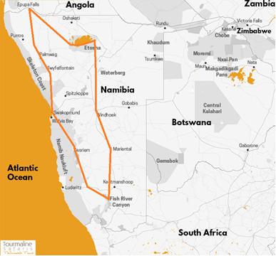 itinéraire Grand tour en camping en Namibie