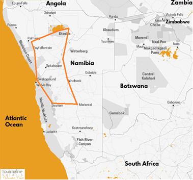carte itinéraire Lune de miel en Namibie, voyage individuel, safari 4x4