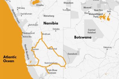 carte Voyage Namibie Vers le Grand Sud namibien